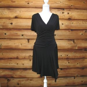 Black Jersey Ruched Dress